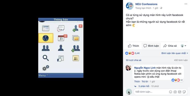 Màn hình lướt Facebook của những ngày đầu tiên với chiếc điện thoại bấm phím.