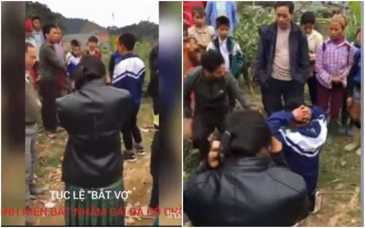 Hình ảnh chàng trai mặc đồng phục bị bắt quỳ, xin lỗi.
