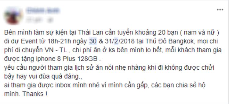 """Quốc tế tuyển người đi sự kiện hay sao? Đi du lịch Thái Lan miễn phí lại còn có quà """"khủng"""" mang về."""