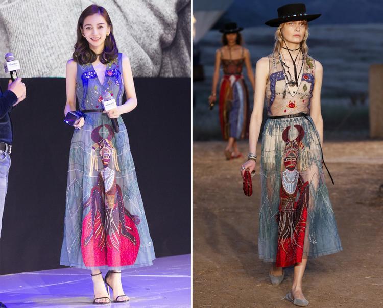 Trong một thiết kế khác, thay vì đi giày bệt giống người mẫu, cô chọn giày cao gót dây mảnh tăng phần điệu đà cho hình ảnh của mình.