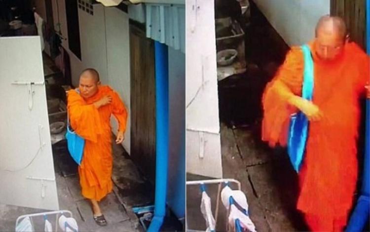 Nhà sư Thái Lan đang trộm đồ lót nữ.