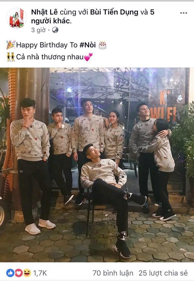Người yêu của Quang Hải chúc mừng sinh nhật thủ môn Bùi Tiến Dũng.