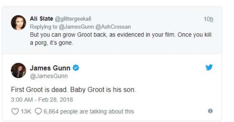 James Gunn: Groot đã chết. Baby Groot là con trai của anh ấy.