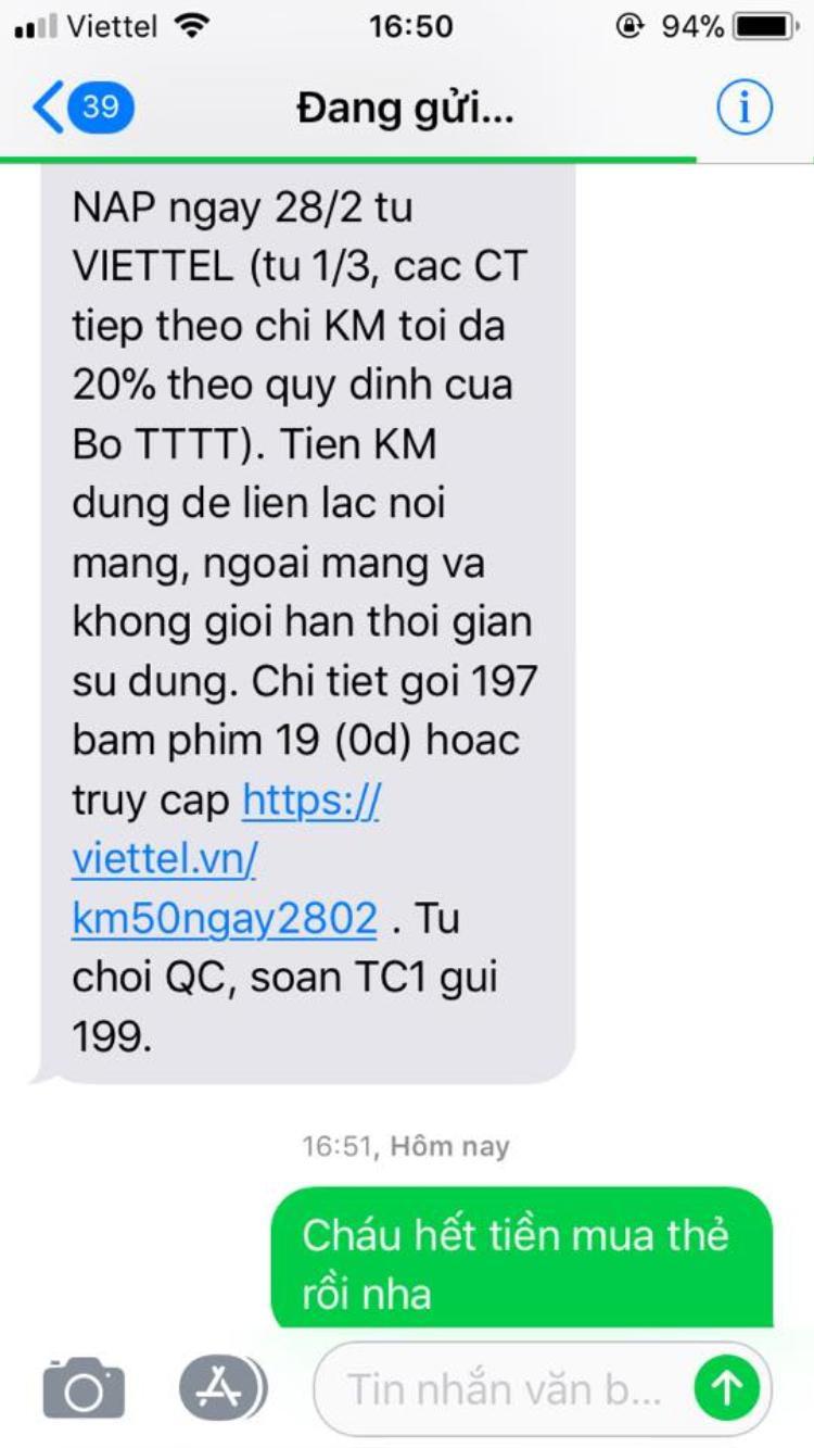 Tin nhắn bá đạo gửi đến tổng đài Viettel. Ảnh: Đinh Thu Hương.
