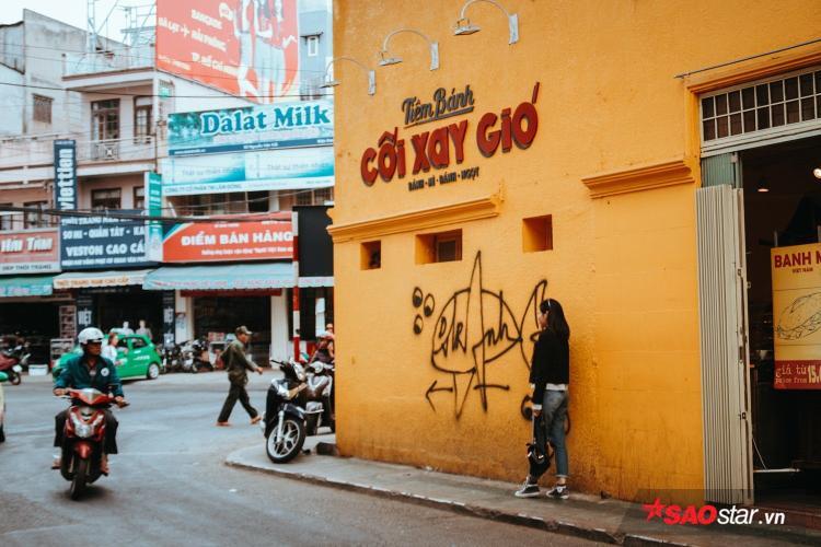 """""""Bức tường bị bôi bẩn thì tiếc thật, nhưng mình đã cất công lên tới Đà Lạt rồi thì cũng phải chụp vài kiểu trước đã."""" - một bạn trẻ chia sẻ."""