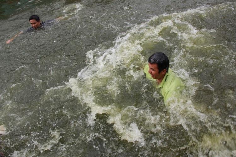 Những người tham gia trò chơi phải xuống hồ nước sau đó khéo léo bắt những con vịt đang bơi.