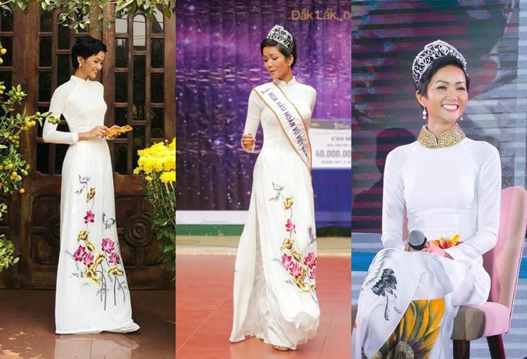 Riêng đối với áo dài, sắc trắng vẫn được ưu tiên lựa chọn trên hết.