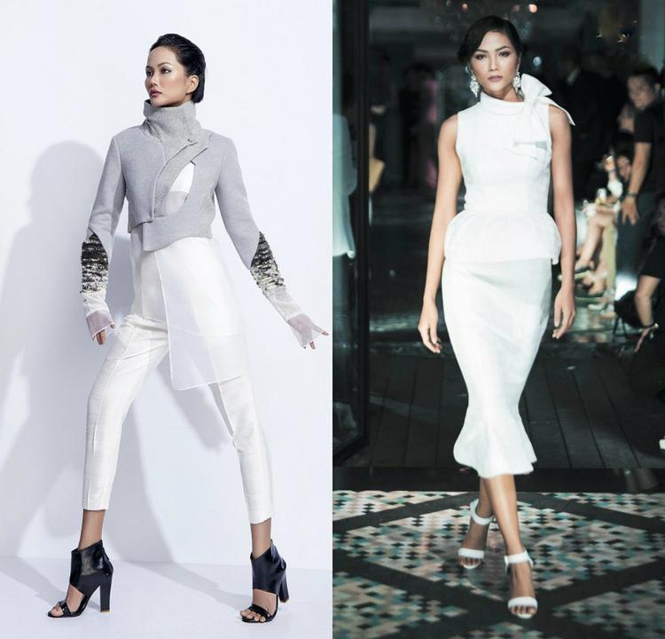 Ngoài ra, đảm nhiệm trình diễn cho các bộ sưu tập, người đẹp cũng được các nhà thiết kế giao cho những trang phục có màu trắng.
