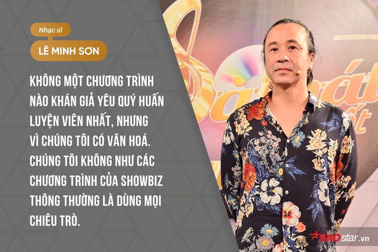 Hơn hết, phát ngôn về chất lượng giám khảo và khẳng định Sing My Song không hề dùng chiêu trò gây tranh cãi của HLV Lê Minh Sơn cũng được đề cập trong tập vừa qua.