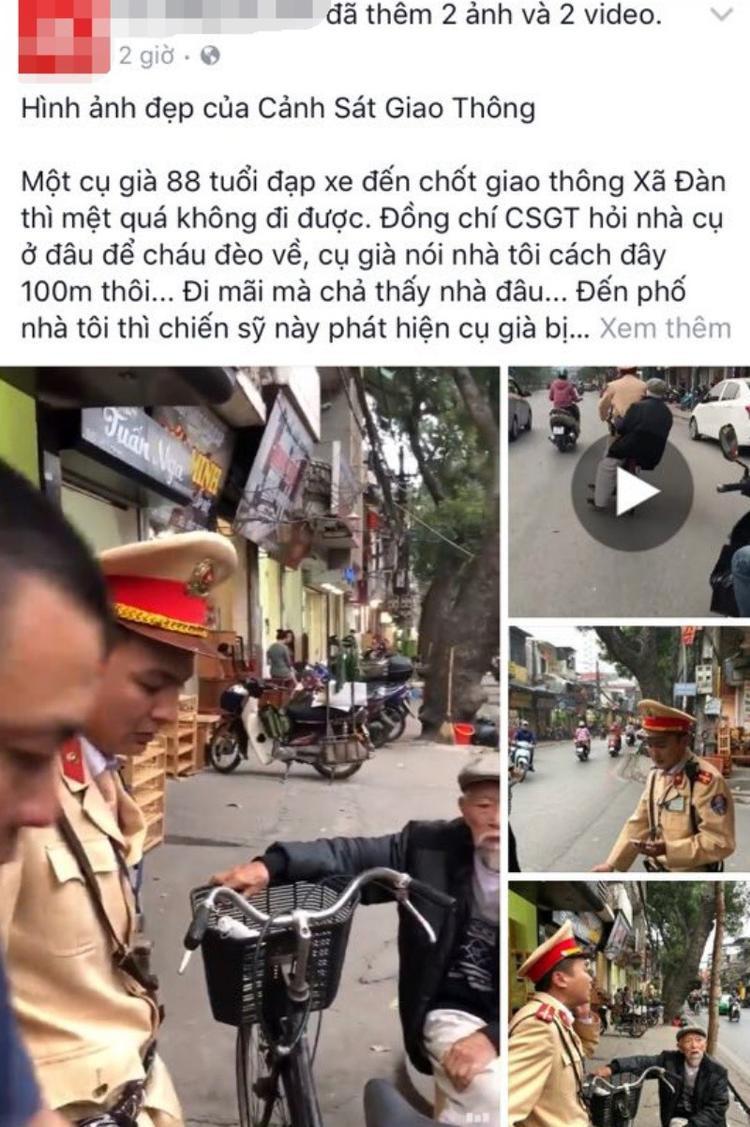 Câu chuyện của người chiến sĩ CSGT được người dân ghi lại.