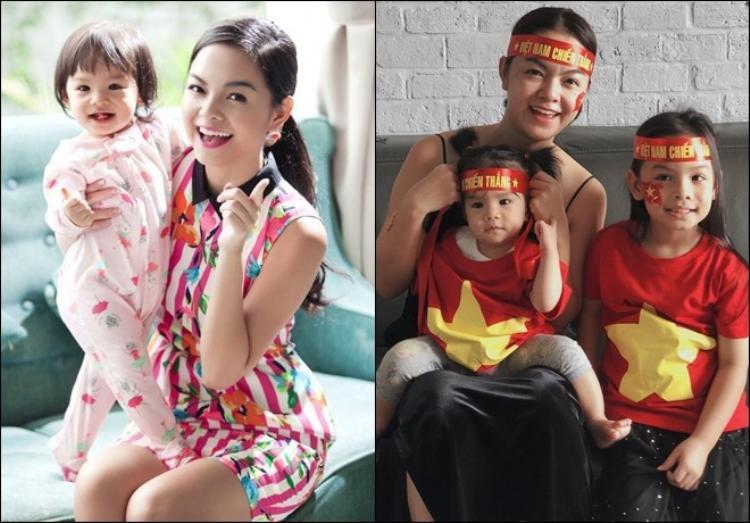 Bé Bella tuy chỉ mới 6 tuổi đã ra dáng chị cả bên mẹ và em. Công chúa nhà Quang Huy - Phạm Quỳnh Anh không chỉ xinh xắn mà còn rất thông minh.