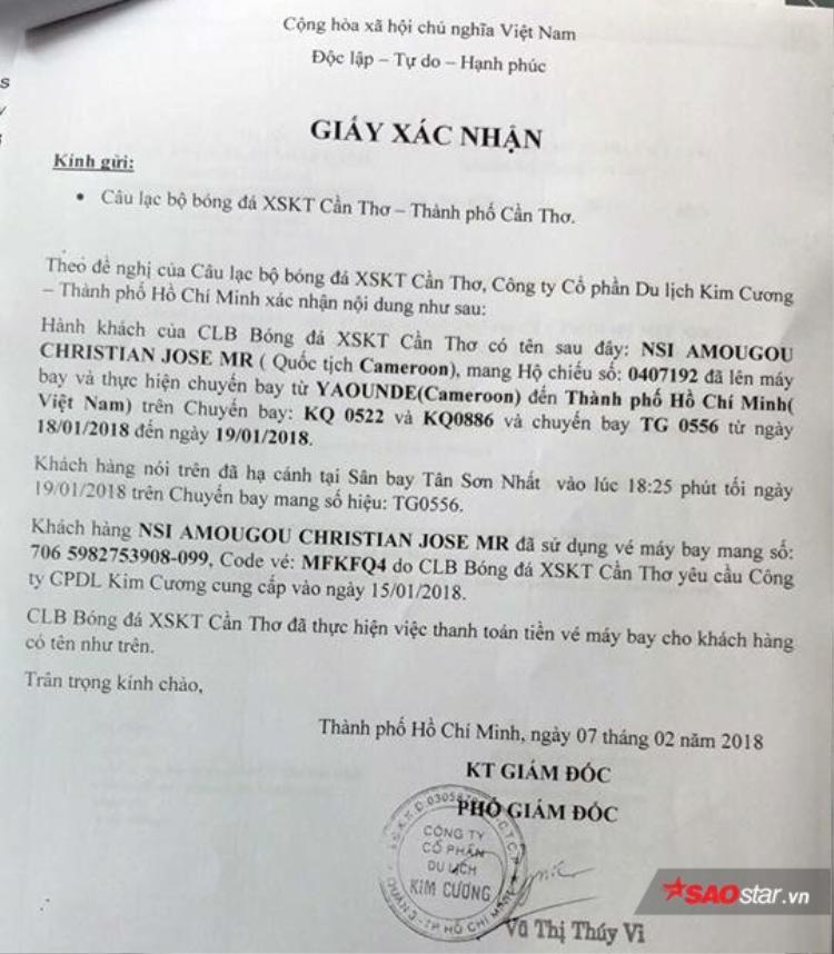 CLB Cần Thơ mua vé máy bay cho Nsi và họ khẳng định đã ký hợp đồng mùa bóng 2018.