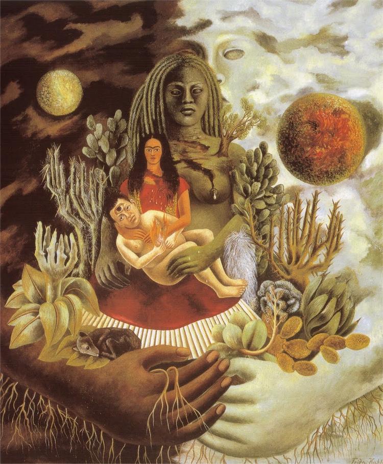 """Còn đây là bức tranh gốc nổi tiếng của nữ danh họa Frida Kahlo - """"The Love Embrace of the Universe, the Earth, Myself, Diego and Senor Xolotl"""". Bức tranh gốc này không có dòng chữ """"memento mori"""""""