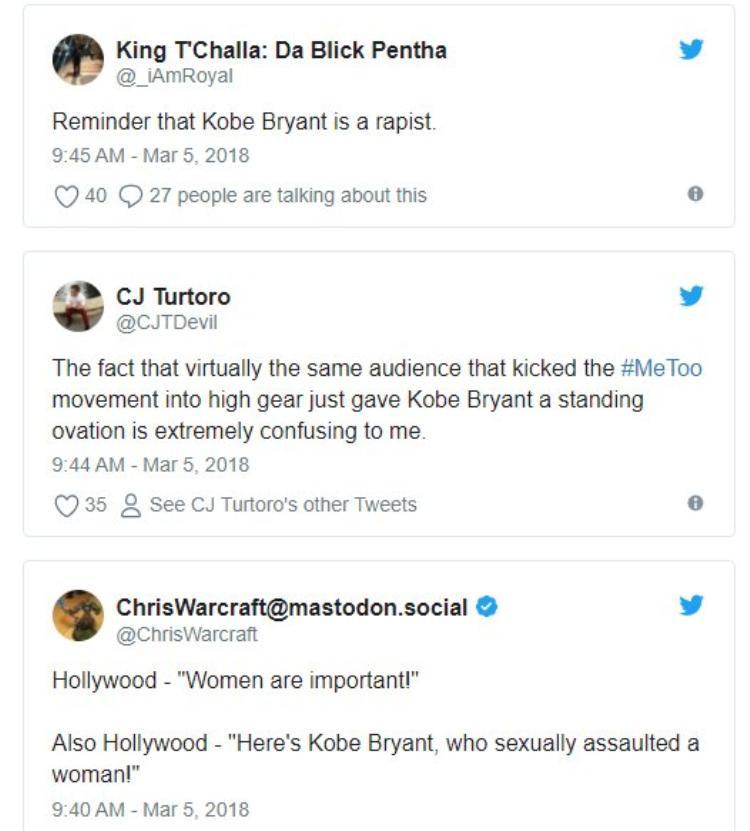 Khán giả chỉ trích Oscar khi trao giải cho Kobe Bryant.