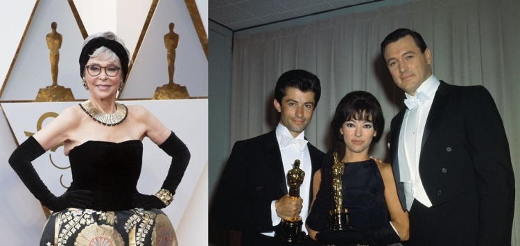 """Rita Moreno thu hút sự chú ý khi diện lại chiếc đầm cách đây nửa thập kỉ. Biểu tượng thời trang 86 tuổi này tiết lộ rằng, trên thảm đỏ Oscar năm nay, chiếc áo mà cô ấy mặc là chiếc áo mà cô ấy đã mặc trong buổi lễ năm 1962. Đó là năm cô đoạt giải Nữ diễn viên phụ xuất sắc nhất cho vai Anita trong phim """"West Side Story"""". Để bớt nhàm chán, cô đã cắt bớt một số chi tiết, biến nó thành chiếc áo cúp ngực quyến rũ, và chiếc váy xòe bên dưới được giữ nguyên, chất liệu vải kimono được lấy từ tận Nhật Bản từ những nàng Geisha."""