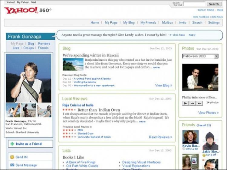 Giao diện trang cá nhân trên Yahoo! 360, ngôi nhà online của rất nhiều người một thời.