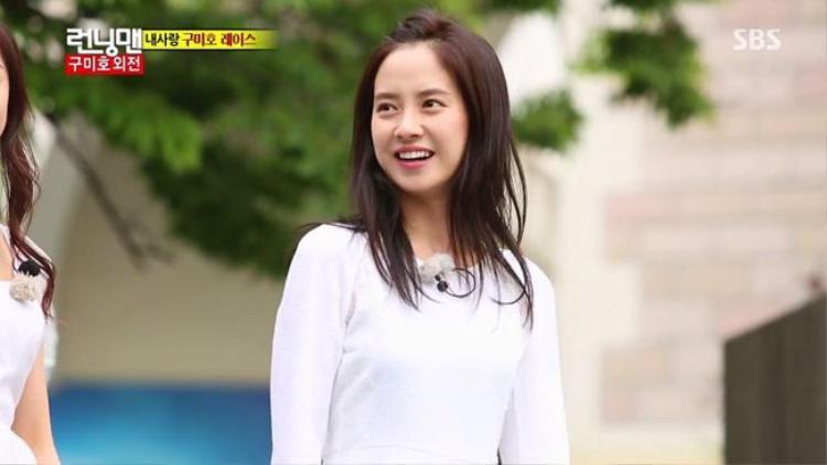 """""""Mong Ji"""" còn được khán giả yêu quý bởi tính cách thẳng thắn, vô cùng đáng yêu vàthoải mái với những thành viên khác khi tham gia chương trình truyền hình thực tế Running Man."""