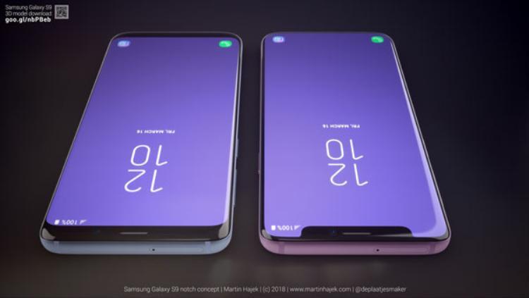 """Sự kết hợp giữa thiết kế """"tai thỏ"""" và màn hình cong tràn cạnh thực sự khiến màn hình chiếc S9 trong concept này như trải ra vô tận. Trên iPhone X, Apple vẫn chỉ sử dụng màn hình phẳng."""