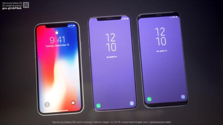 Đọ dáng với iPhone X và Samsung Galaxy S9 phiên bản thiết kế thực tế.