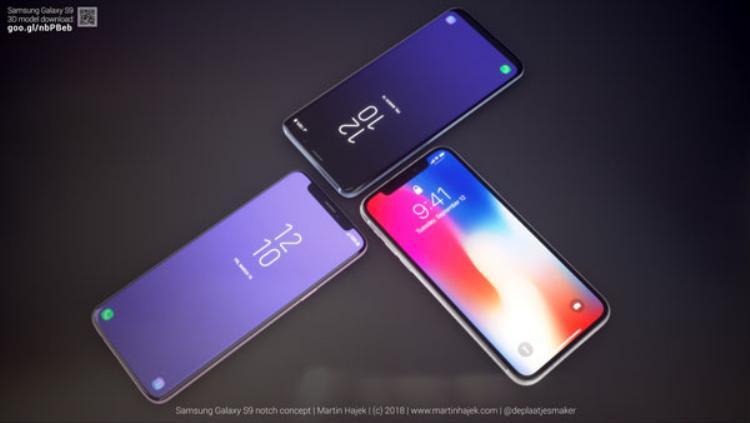 Tỷ lệ màn hình trên mặt trước của chiếc Samsugn Galaxy S9 này chắc chắn sẽ vượt trội hơn iPhone X nhờ thiết kế màn hình cong.