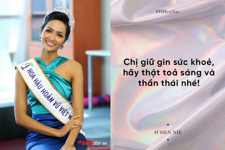 H'Hen Niê gửi lời chúc đến đàn chị trước thềm chung kết Miss International Queen 2018.