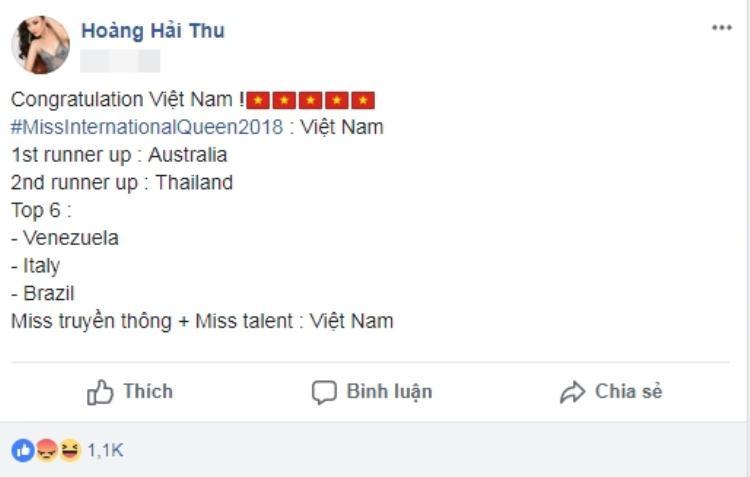 Tuy vậy, cô cũng nhanh chóng gửi lời chúc mừng khi hay tin đại diện Việt Nam giành chiến thắng.