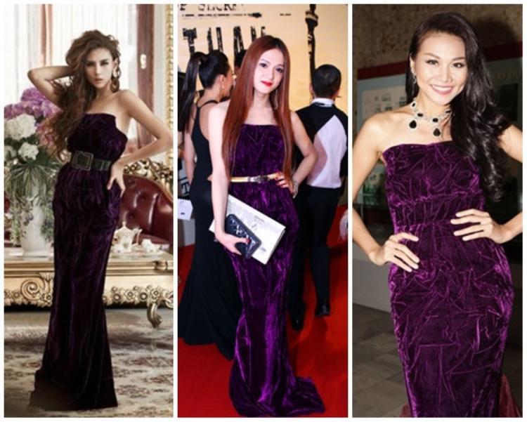 Hương Giang kiêu sa và lộng lẫy trong một thiết kế dạ hội sắc tím, kiểu váy giống với thiết kế mà Thanh Hằng và Võ Hoàng Yến từng mặc.