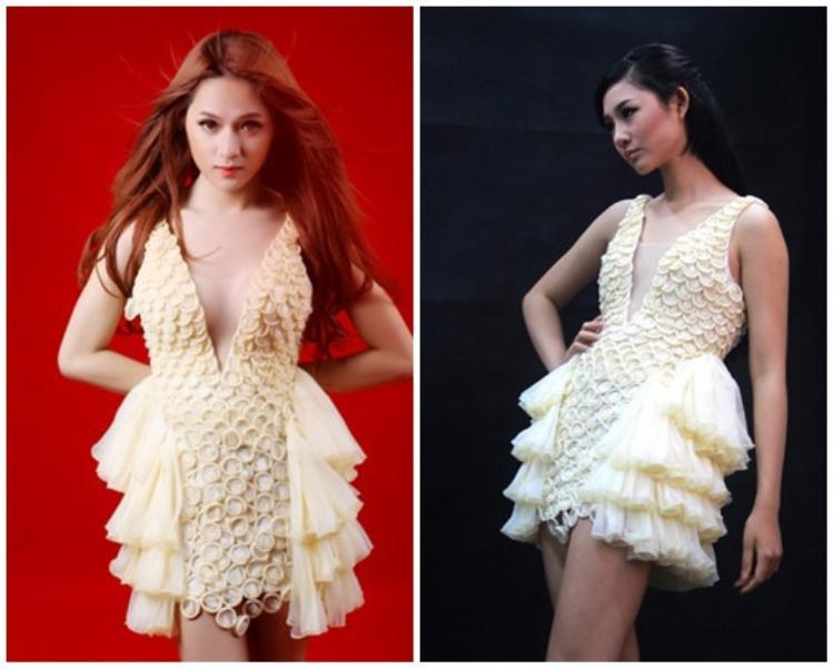 Hương Giang và Trà My cùng mặc chung một thiết kế váy làm bằng bao cao su. Thân hình đầy đặn của người đẹp chuyển giới tỏ ra phù hợp với bộ cánh hơn rất nhiều so với chân dài xuất thân từ Next Top.