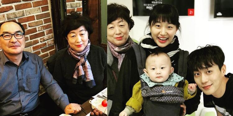 """Đại gia đình """"cute"""" của Yoon Doo Joon (Highlight). Fan cho rằng, nam ca sĩ giống mẹ nhiều hơn bố. Gần đây, cháu trai của anh cũng gây sốt vì sở hữu gương mặt đáng yêu."""