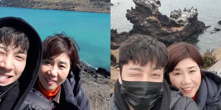 Vào 8/3, Kikwang (Highlight) dẫn mẹ đi du lịch đảo Jeju.