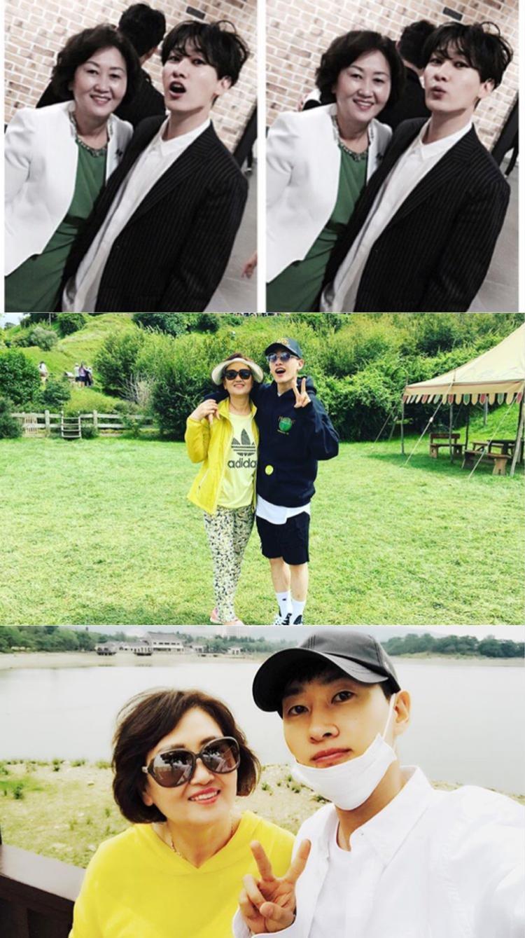 """Chàng """"cá cơm"""" Eun Hyuk (Super Junior) """"cặp kè"""" cùng mẹ bất cứ nơi đâu họ đến."""