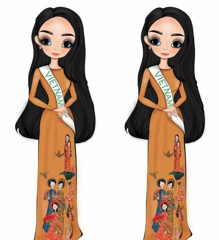 """Hình ảnh """"chipi"""" của tân hoa hậu mặc áo dài được fan gửi tặng cô. Sau đăng quang người đẹp được người hâm mộ chú ý và dành nhiều tình cảm hơn trước."""