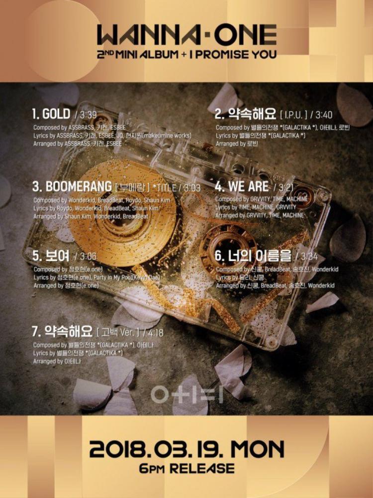 Danh sách bài hát trong album 0 + 1 = 1 (I Promise You) cũng được tiết lộ, theo đó bài hát chủ đề lần này có tên là Boomerang. Album sẽ lên kệ ngày 19/3 sắp tới.