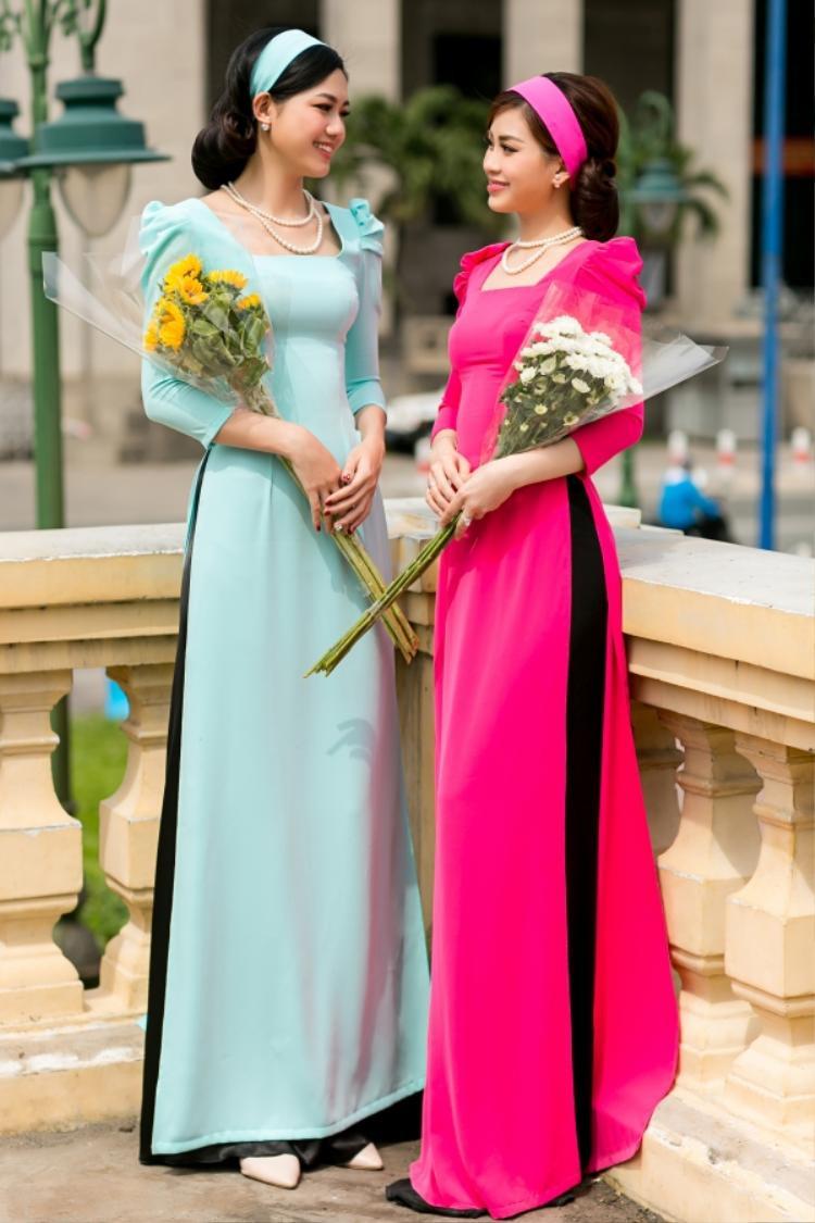 Đây là hình ảnh á hậu Diễm Trang mặc chiếc áo dài trơn màu hồng và cùng đi chụp ảnh với á hậu Thanh Tú dịp cận Tết Mậu Tuất.