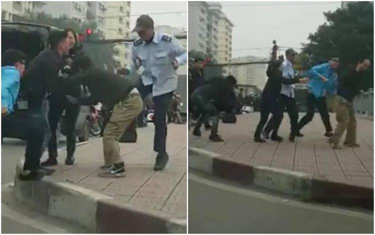 Hình ảnh nhóm người đuổi đánh người đàn ông mặc áo đen.