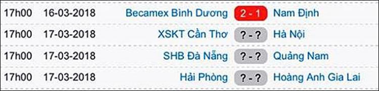Cả ba trận đấu đều diễn ra vào lúc 17h.