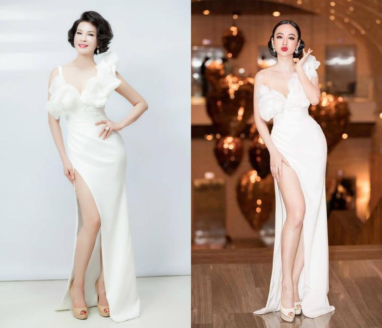 Trong một bộ ảnh khác, Thanh Mai cũng từng diện lại thiết kế của Angela Phương Trinh.