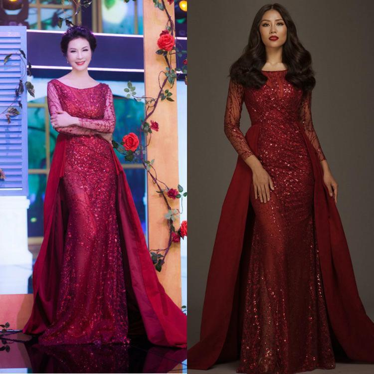 Trong bộ cánh lộng lẫy có chất liệu xuyên thấu, Thanh Mai và người đẹp Nguyễn Thị Loan khoe nhan sắc mặn mà chẳng ai chịu nhường ai.
