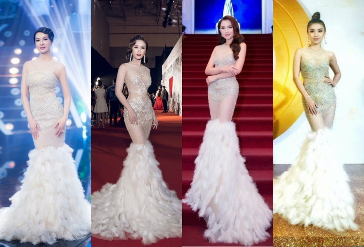 Hot girl Sam, Hoàng Thu Thảo, Tiêu Châu Như Quỳnh đều phải thảng thốt, bất ngờ khi Thanh Mai diện lại chiếc váy xuyên thấu đính kết lông vũ chẳng thua kém ba chân dài trẻ tuổi.