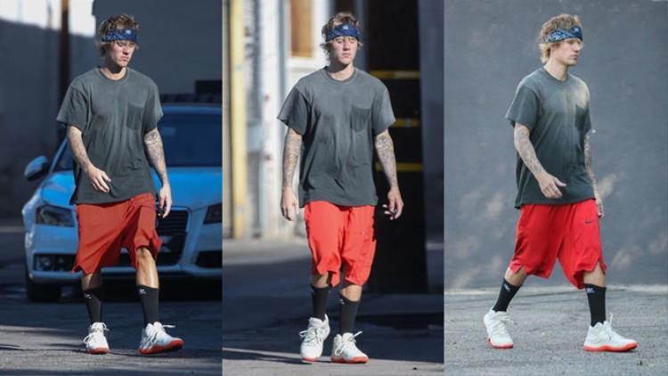 Justin thường xuyên xuất hiện với bộ dạng này, chiếc băng đô không những giúp anh làm giảm phần nào độ xuề xòa của tóc mà còn trông như 'cái bang'.