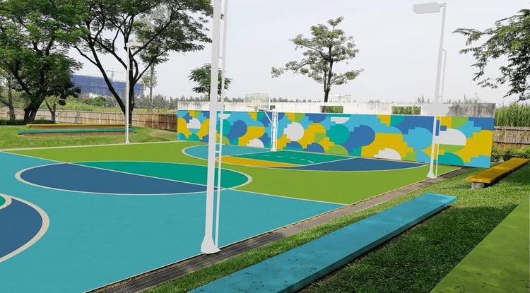 Sân bóng rổ được thay màu theo mùa - (Instagram: min.8899)