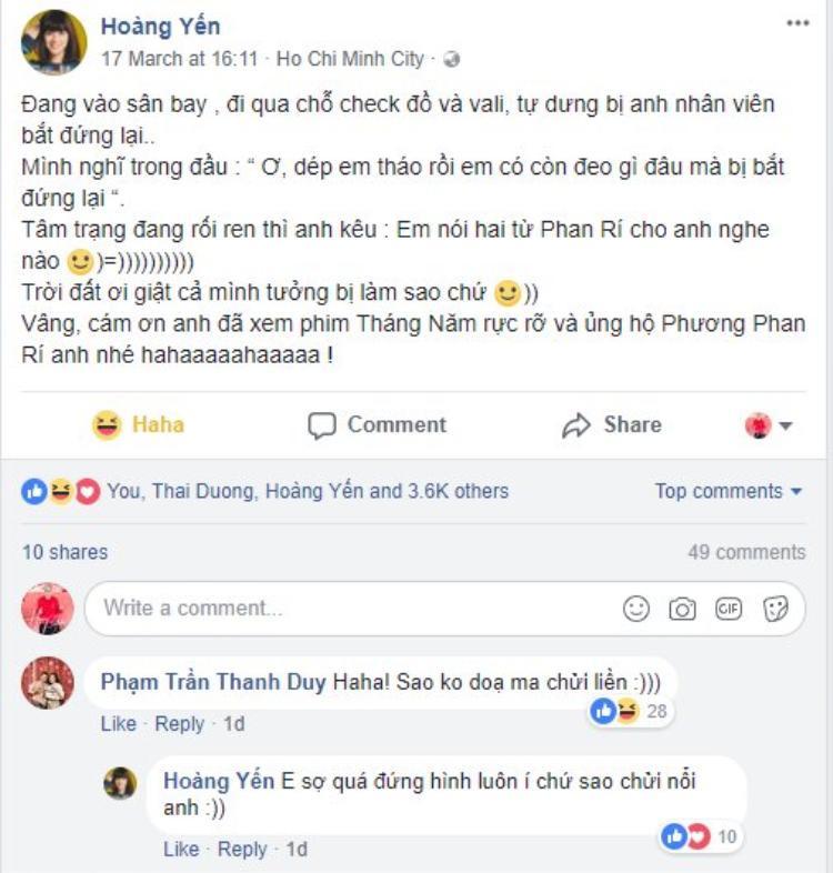 """Hoặc phát âm từ """"Phan Rí"""" theo giọng của Hiểu Phương. Ca sĩ Thanh Duy cũng trêu cô nàng """"Sao không dọa ma chửi liền""""."""