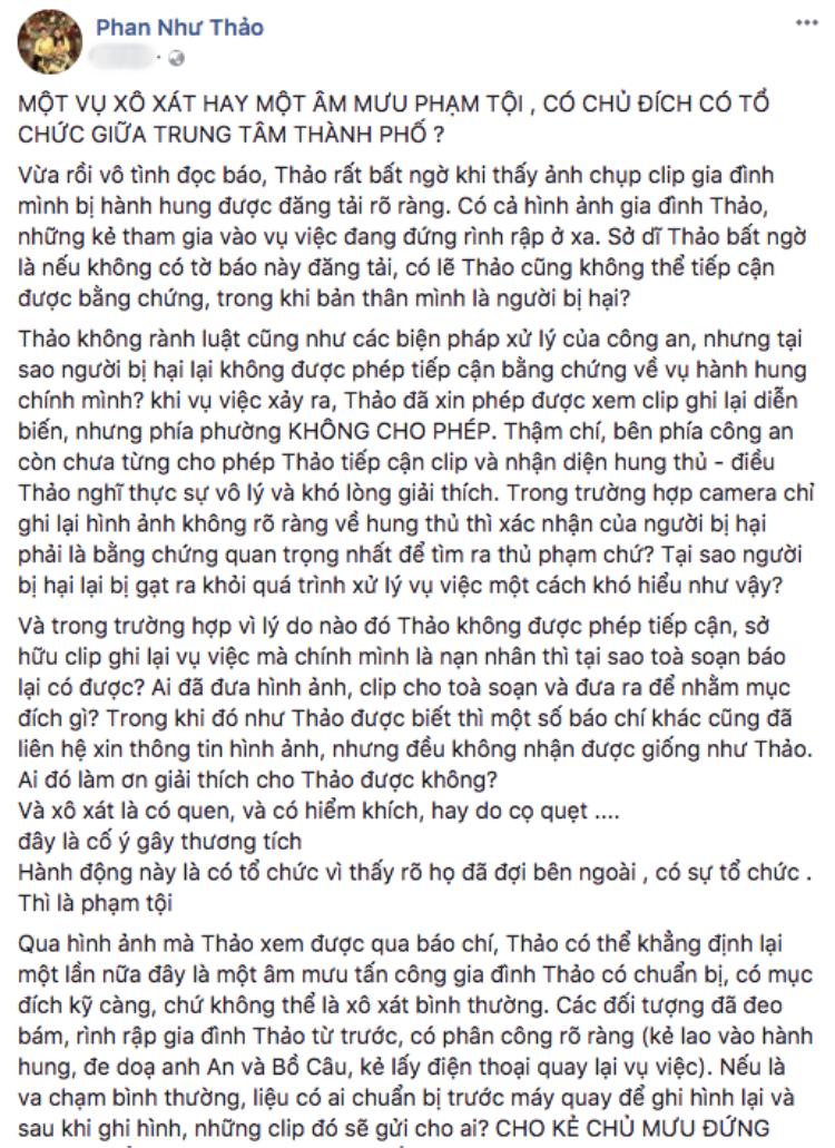 Công an kết luận không có vụ giang hồ bắt cóc con gái, Phan Như Thảo ẩn ý: Tôi không tha thứ cho ai làm hại gia đình