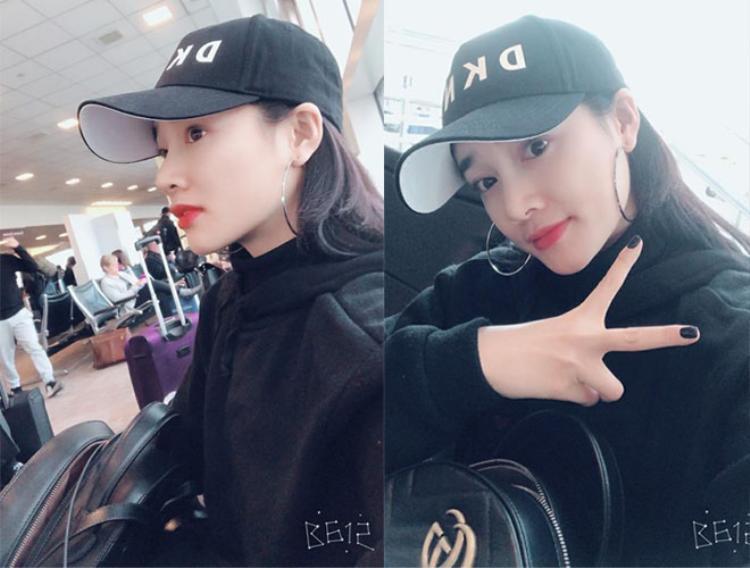 Hình ảnh trên trang fanpage của Nhã Phương hôm 15/3. Do thời tiết xấu, cô phải đổi lịch bay và về Việt Nam muộn hơn dự kiến.