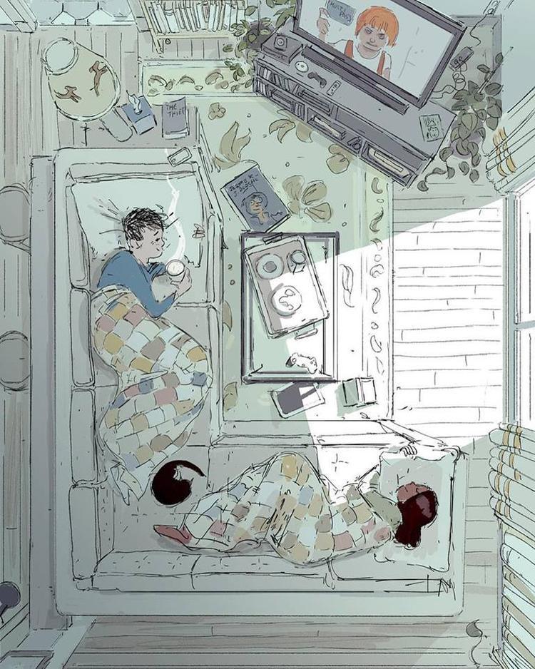Những buổi sáng cuối tuần, cả hai nằm như con mèo lười, xem TV hoặc chỉ đơn giản là nhìn nhau âu yếm.