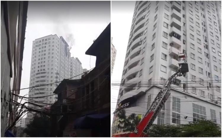 Khói bốc ra nghi ngút từ tầng 21 chung cư Văn Khê (Ảnh: kenh14)
