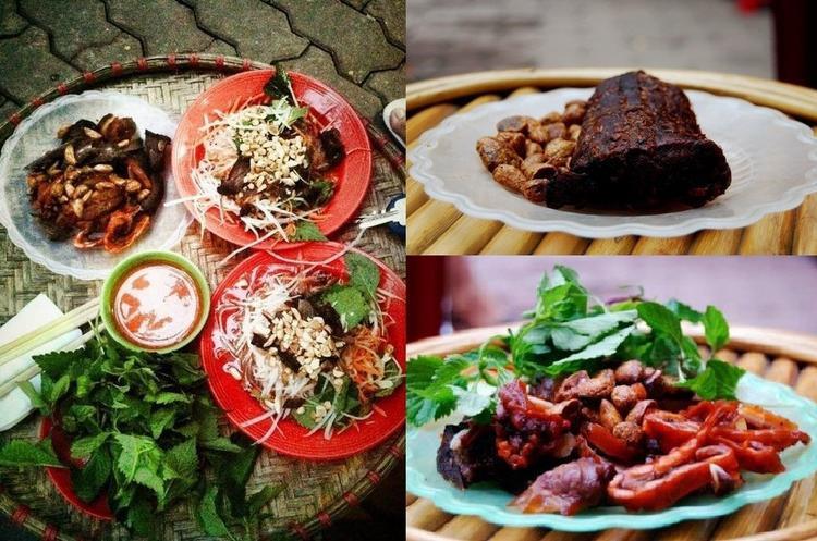 Điểm đặc biệt của quán nộm Lim là khúc thịt bò để nguyên.