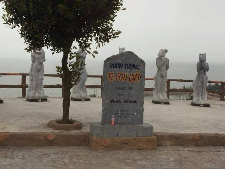 Vườn tượng 12 con giáp được tạo hình tại khu du lịch quốc tế Hòn Dấu.