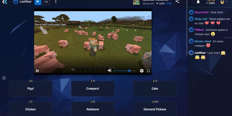 """""""Minecraft"""" của Microsoft có tích hợp với Mixer nên người xem livestream của bạn có thể thêm thành viên khác vào xem theo ý thích của họ. Ảnh: Mixer"""