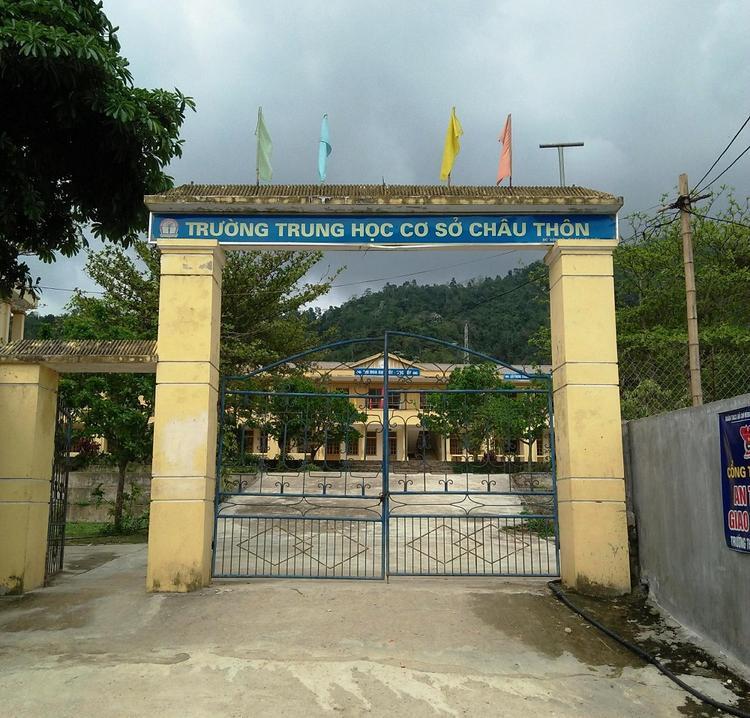 Trường THCS Châu Thôn, nơi xảy ra sự việc.
